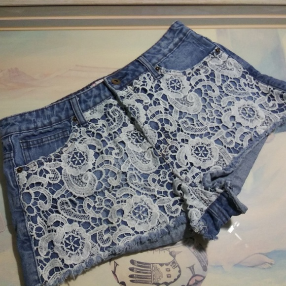 Forever 21 Pants - Forever 21 denim blue white lace jeans shorts